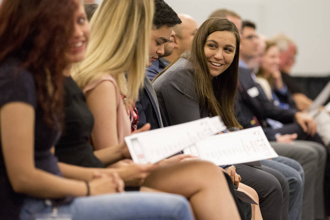 UNLV's inaugural class of medical students wait to be presented with their stethoscopes at UNLV in Las Vegas on Monday, July 17, 2017. The entire class of 60 students were presented with stethosco ...