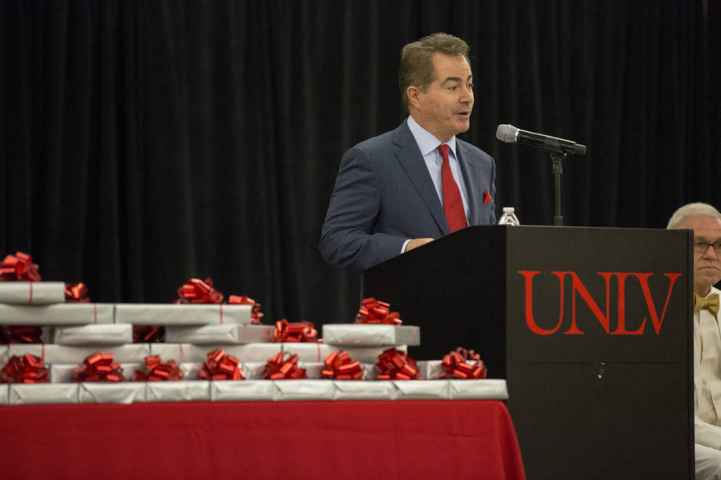 UNLV president Len Jessup speaks to UNLVճ inaugural class of medical students prior to presenting them with stethoscopes at UNLV in Las Vegas on Monday, July 17, 2017. Bridget Bennett Las Ve ...