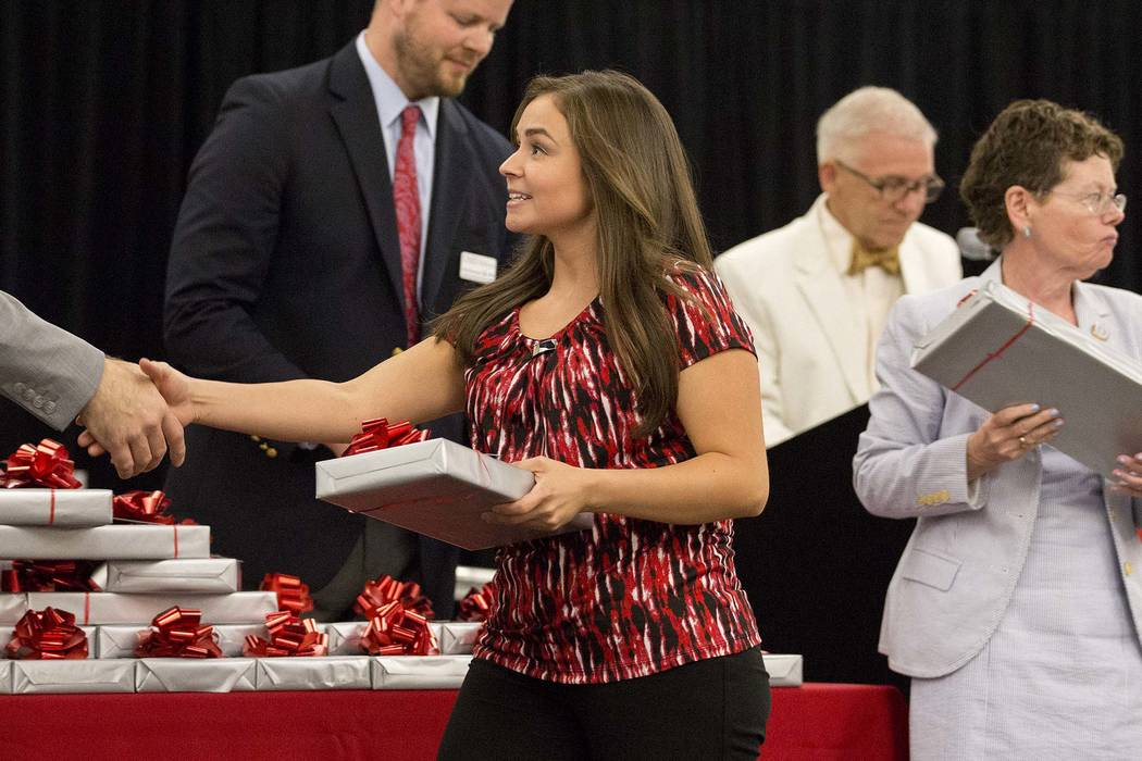 Monica Arebalos, who is part of UNLV's inaugural class of medical students, is presented with her stethoscope at UNLV in Las Vegas on Monday, July 17, 2017. (Bridget Bennett/Las Vegas Review-Journ ...