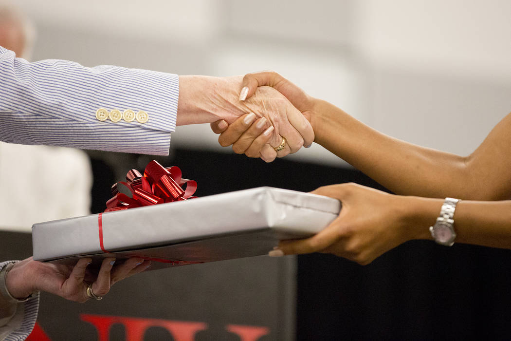 UNLVճ inaugural class of medical students are presented wither their stethoscope at UNLV in Las Vegas on Monday, July 17, 2017. Bridget Bennett Las Vegas Review-Journal @bridgetkbennett