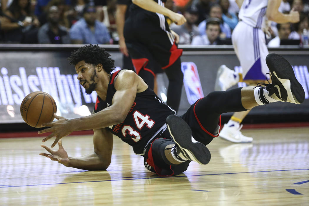 Portland Trail Blazers' Jarnell Stokes (34) tries to keep the ball during the NBA Summer League championship game against the Los Angeles Lakers at the Thomas & Mack Center in Las Vegas on Mon ...
