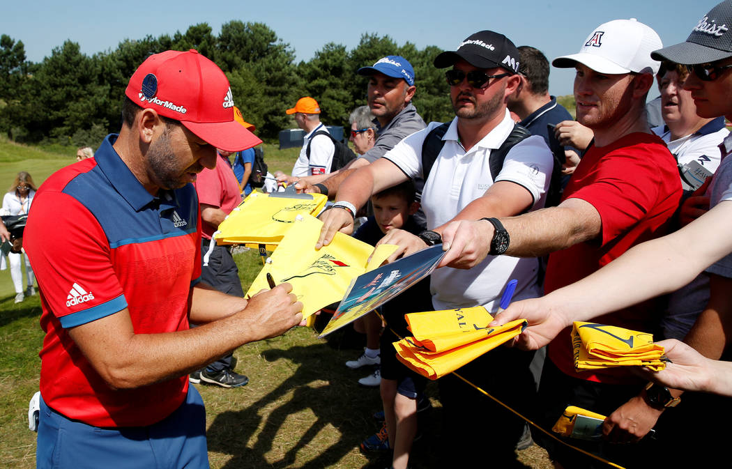 Golf - The 146th Open Championship - Royal Birkdale - Southport, Britain - July 18, 2017   Spain's Sergio Garcia signs autographs for fans during a practice round   REUTERS/Paul Childs