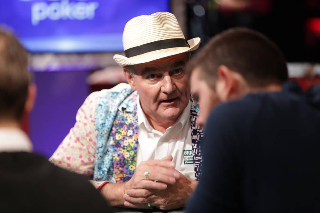 John Hesp talks to a fellow player during day seven of the World Series of Poker on Monday, July 17, 2017, at the Rio hotel-casino in Las Vegas. (Rachel Aston/Las Vegas Review-Journal) @rookie__rae