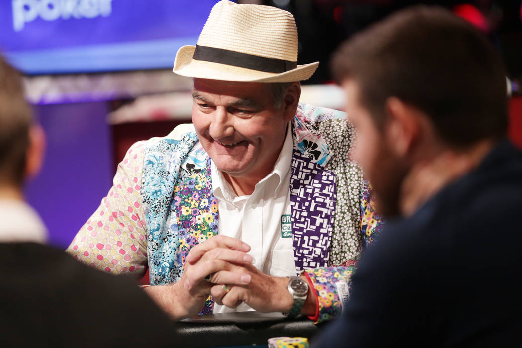 John Hesp plays poker during day seven of the World Series of Poker on Monday, July 17, 2017, at the Rio hotel-casino in Las Vegas. (Rachel Aston/Las Vegas Review-Journal) @rookie__rae