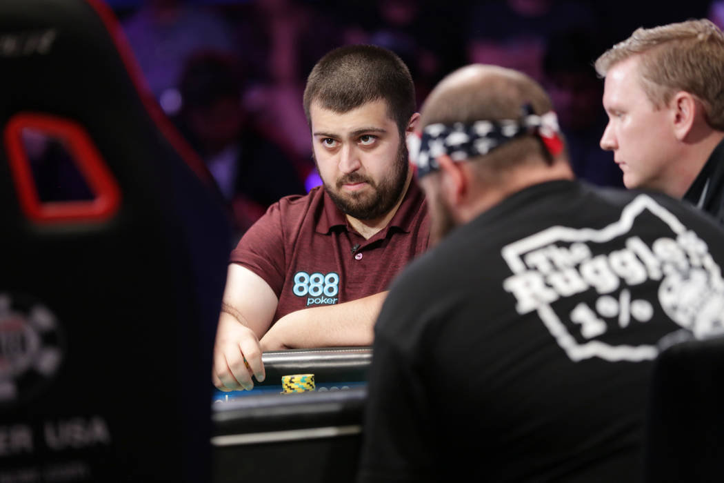 Scott Blumstein plays poker during day seven of the World Series of Poker on Monday, July 17, 2017, at the Rio hotel-casino in Las Vegas. (Rachel Aston/Las Vegas Review-Journal) @rookie__rae