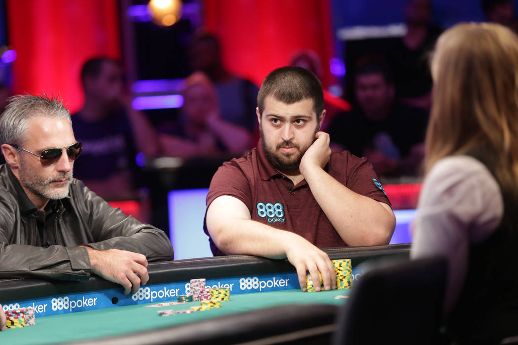 Damian Salas, left, and Scott Blumstein play poker during day seven of the World Series of Poker on Monday, July 17, 2017, at the Rio hotel-casino in Las Vegas. (Rachel Aston/Las Vegas Review-Jour ...