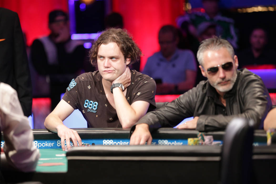 Michael Ruane, left, and Damian Salas play poker during day seven of the World Series of Poker on Monday, July 17, 2017, at the Rio hotel-casino in Las Vegas. (Rachel Aston/Las Vegas Review-Journa ...