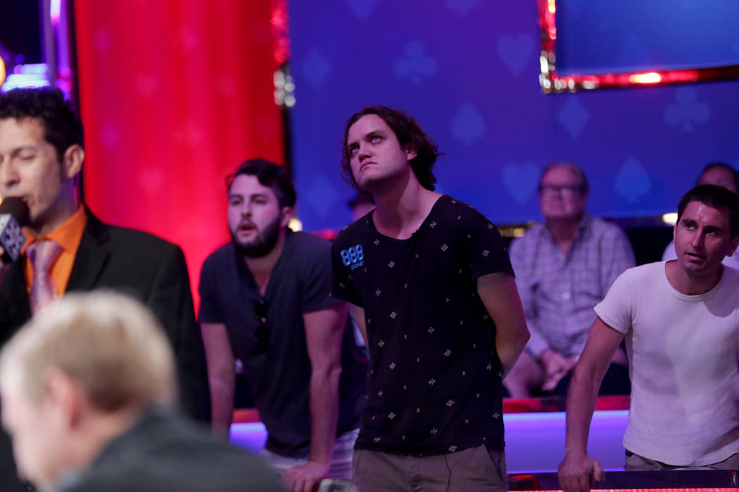 Michael Ruane watches the poker table from steps away during day seven of the World Series of Poker on Monday, July 17, 2017, at the Rio hotel-casino in Las Vegas. (Rachel Aston/Las Vegas Review-J ...