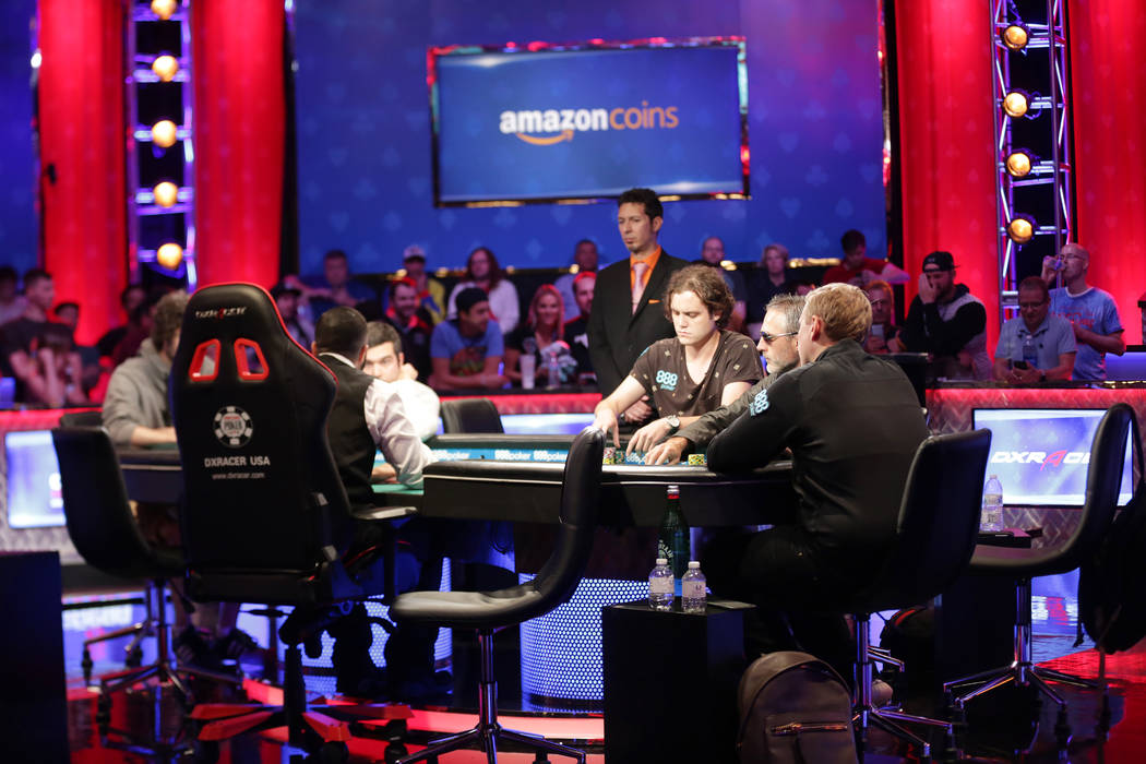 The remaining contestants at the final table on day seven of the World Series of Poker on Monday, July 17, 2017, at the Rio hotel-casino in Las Vegas. (Rachel Aston/Las Vegas Review-Journal) @rook ...