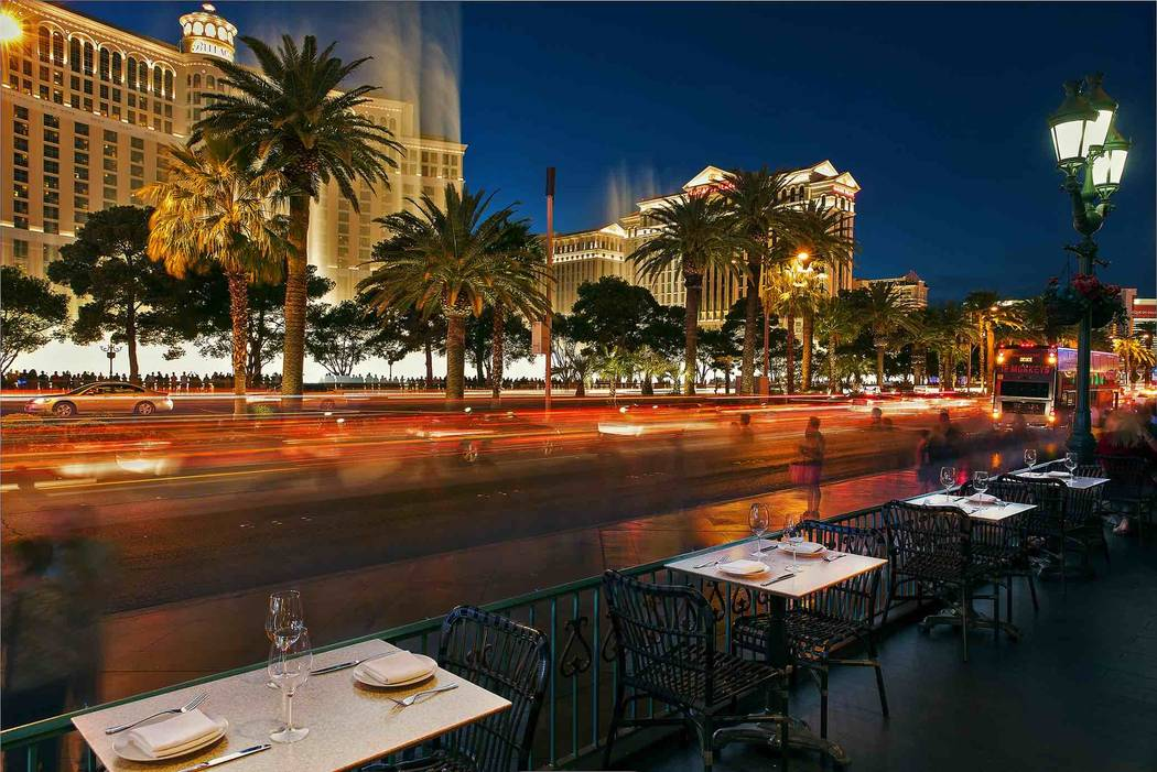 Views of the Las Vegas Strip at Hexx Kitchen & Bar's patio dining. (Anthony Mair)