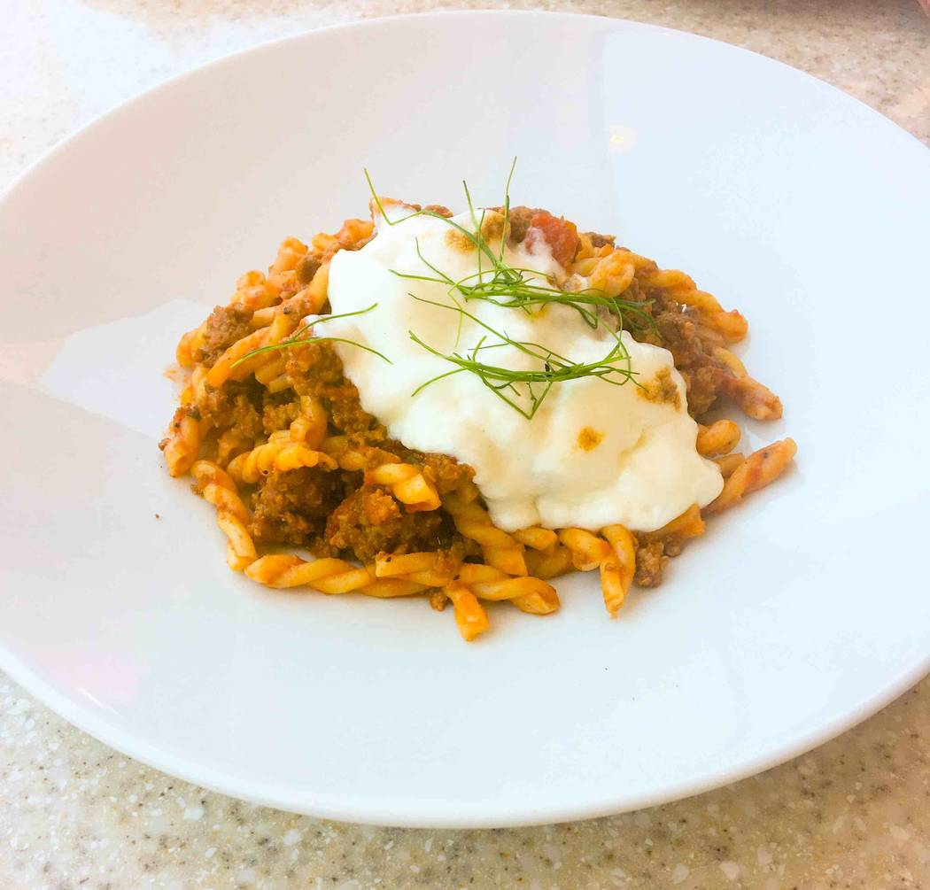 Also on the menu is gemelli pasta made with beef and pork Bolognese. (Courtesy)