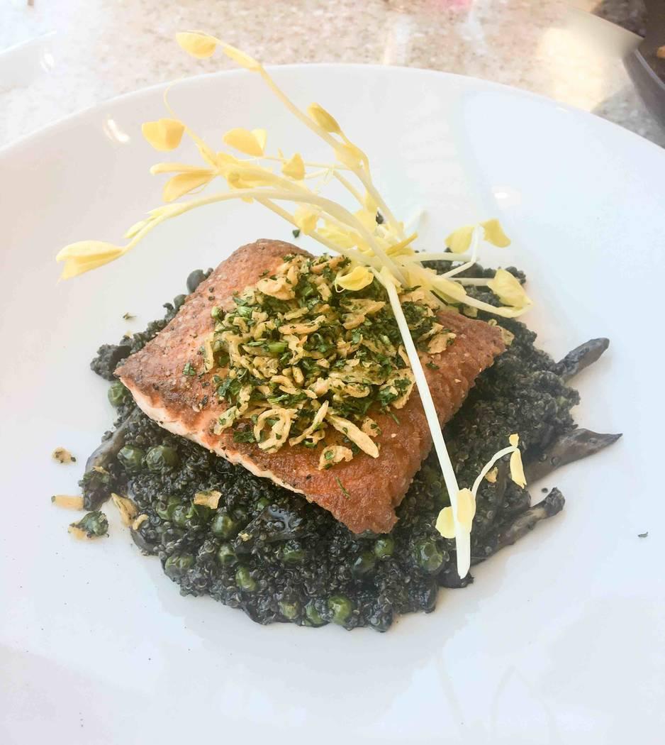 King salmon served with black quinoa risotto. (Courtesy)