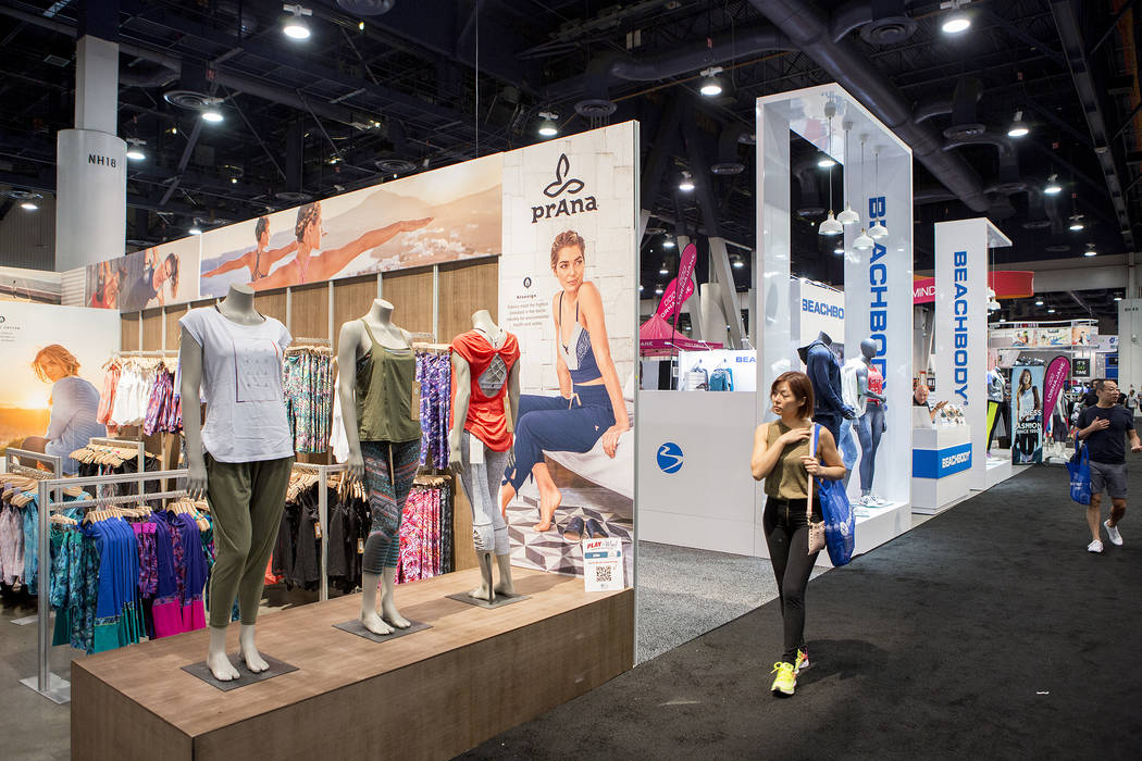 Fitness clothing is on display during the IDEA World Fitness & Nutrition Expo at the Las Vegas Convention Center in Las Vegas on Thursday, July 20, 2017. (Bridget Bennett/Las Vegas Review-Jour ...