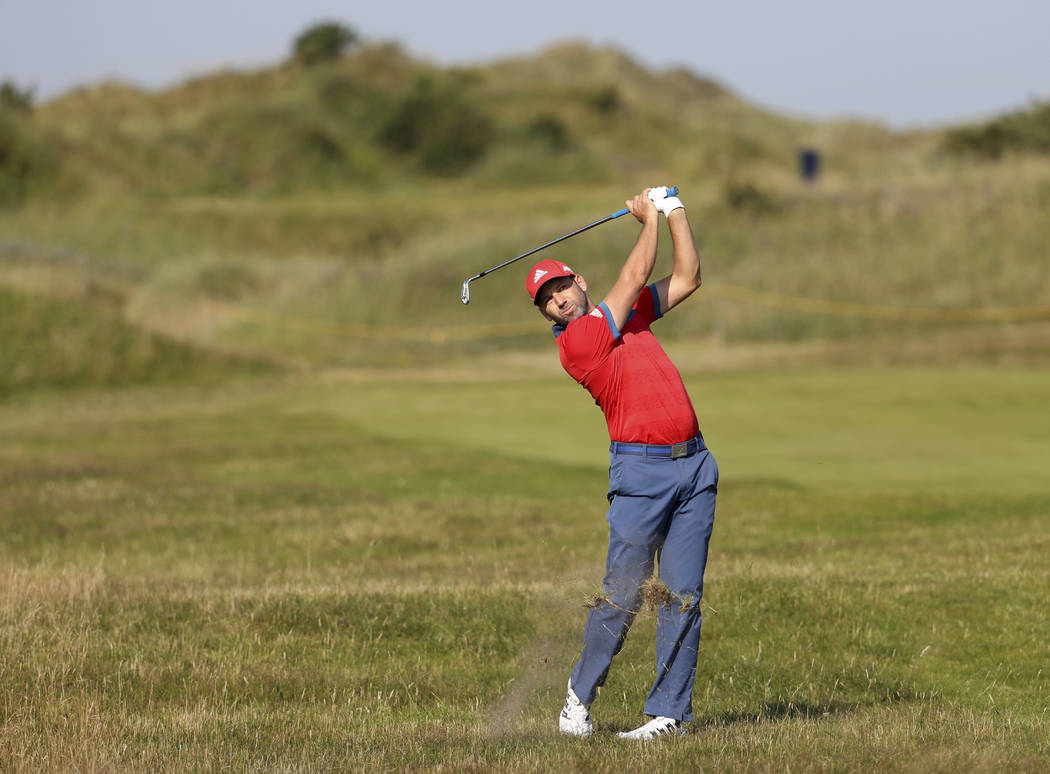 Spain's Sergio Garcia hits a shot from the 4th fairway during a practice round ahead of the British Open Golf Championship, at Royal Birkdale, Southport, England Tuesday, July 18, 2017. (AP Photo/ ...