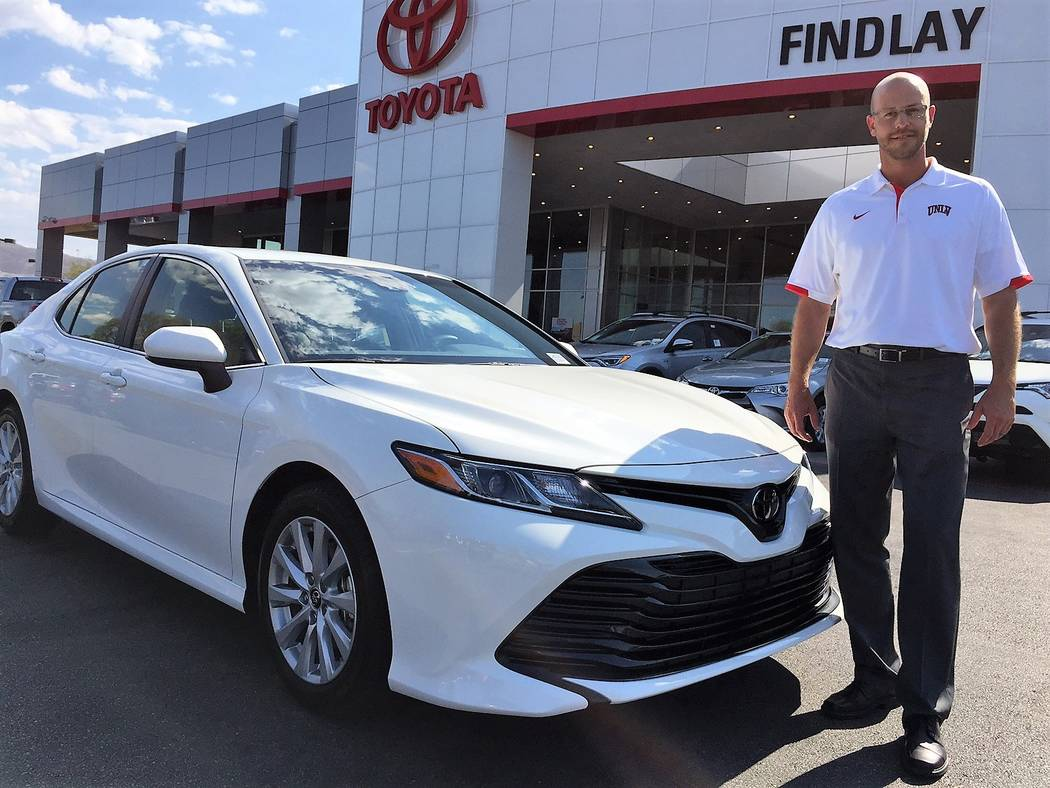 Findlay Toyota Findlay Automotive Group director of operations Robby Findlay is seen with the 2018 Toyota Camry, which arrived at Findlay Toyota on July 14.