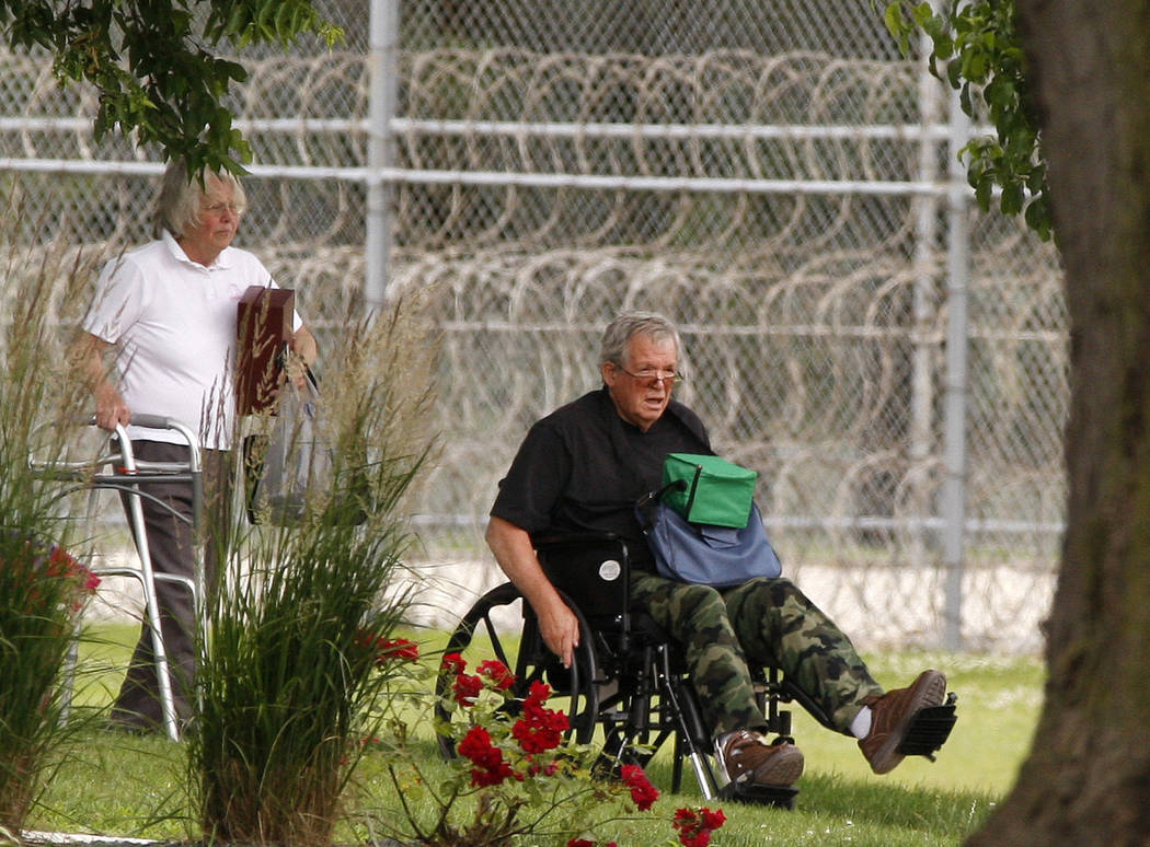 Former Speaker of the House Dennis Hastert, right, reports to the Federal Medical Center in Rochester, Minn.,  June 22, 2016, to begin serving a sentence in a hush money case. He was released Mond ...