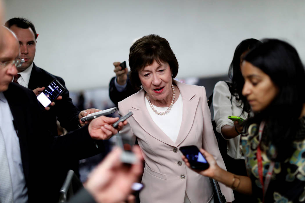 Senator Susan Collins (R-ME) speaks with reporters about the withdrawn Republican health care bill on Capitol Hill in Washington, U.S., July 18, 2017. (Aaron P. Bernstein/Reuters)