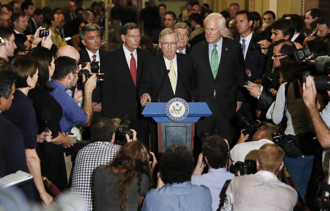 Sen. Cory Gardner, R-Colo., Sen. John Barrasso, R-Wyo., Senate Majority Leader Mitch McConnell of Ky., Sen. Roy Blunt, R-Mo., and Senate Majority Whip Sen. John Cornyn of Texas, speak on Capitol H ...