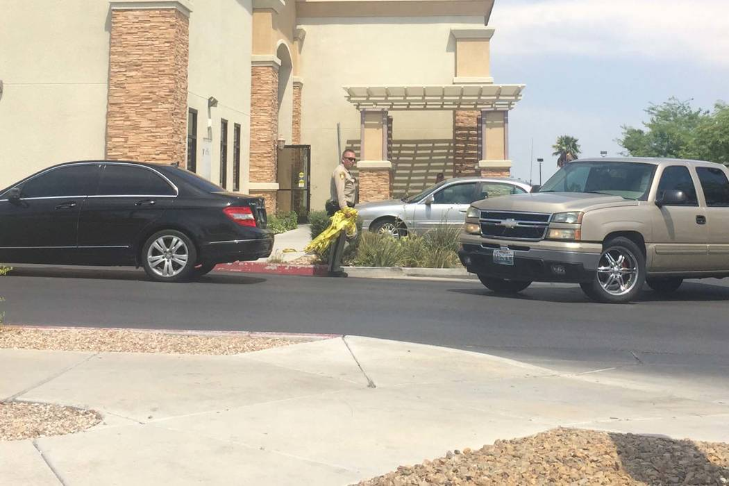 Metropolitan Police Department is investigating an officer-involved shooting in the 6700 block of North Durango Drive in northwest Las Vegas, Tuesday, July 18, 2017. (Marian Green/Las Vegas Review ...