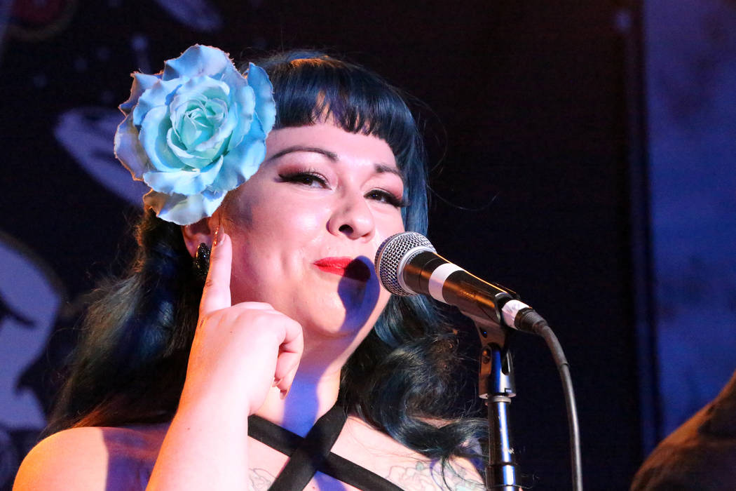 Shanda Cisneros fronts local Las Vegas band Shanda and the Howlers after hours at the Bailiwick Pub during the Viva Las Vegas Rockabilly Weekender at the Orleans on Saturday, April 16, 2017. (Mich ...