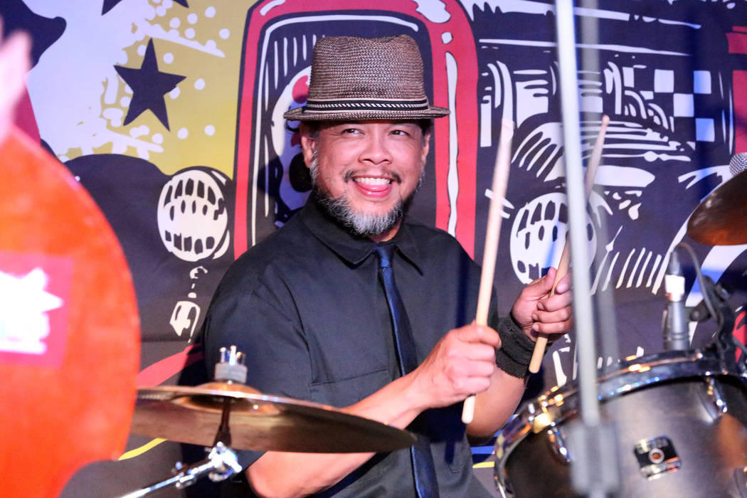Drummer, Keith Alcantara, is the heartbeat of local Las Vegas band Shanda and the Howlers at the Bailiwick Pub during the Viva Las Vegas Rockabilly Weekender at the Orleans on Saturday, April 16,  ...