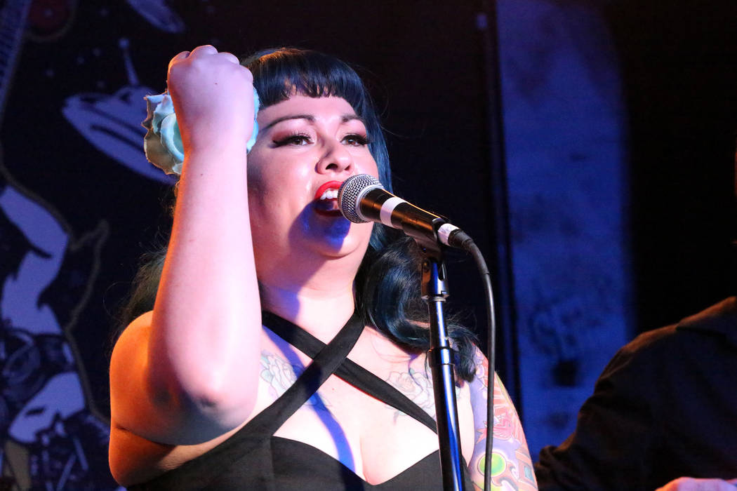 Shanda Cisneros, of local Las Vegas band Shanda and the Howlers, rules the stage after hours at the Bailiwick Pub during the Viva Las Vegas Rockabilly Weekender at the Orleans on Saturday, April 1 ...