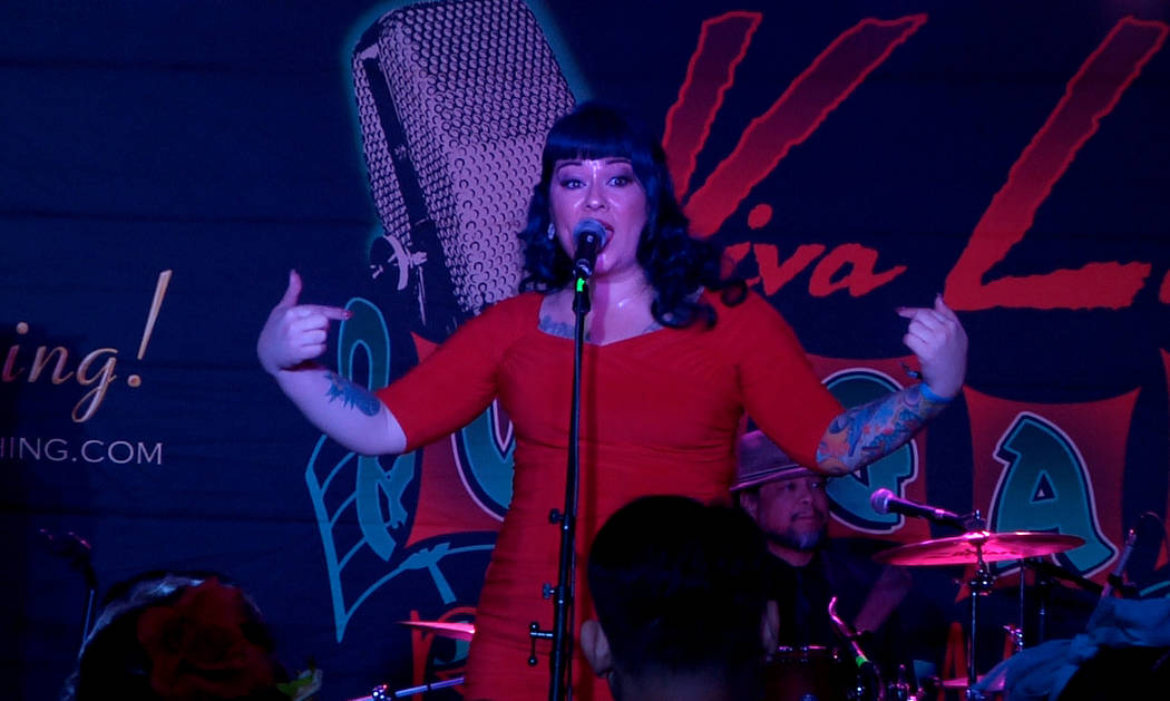 Shanda Cisneros of local Las Vegas band, Shanda and the Howlers, performs at the 20th annual Viva Las Vegas Rockabilly Weekender on Thursday, April 13, 2017. (Michael Quine/Las Vegas Review-Journa ...