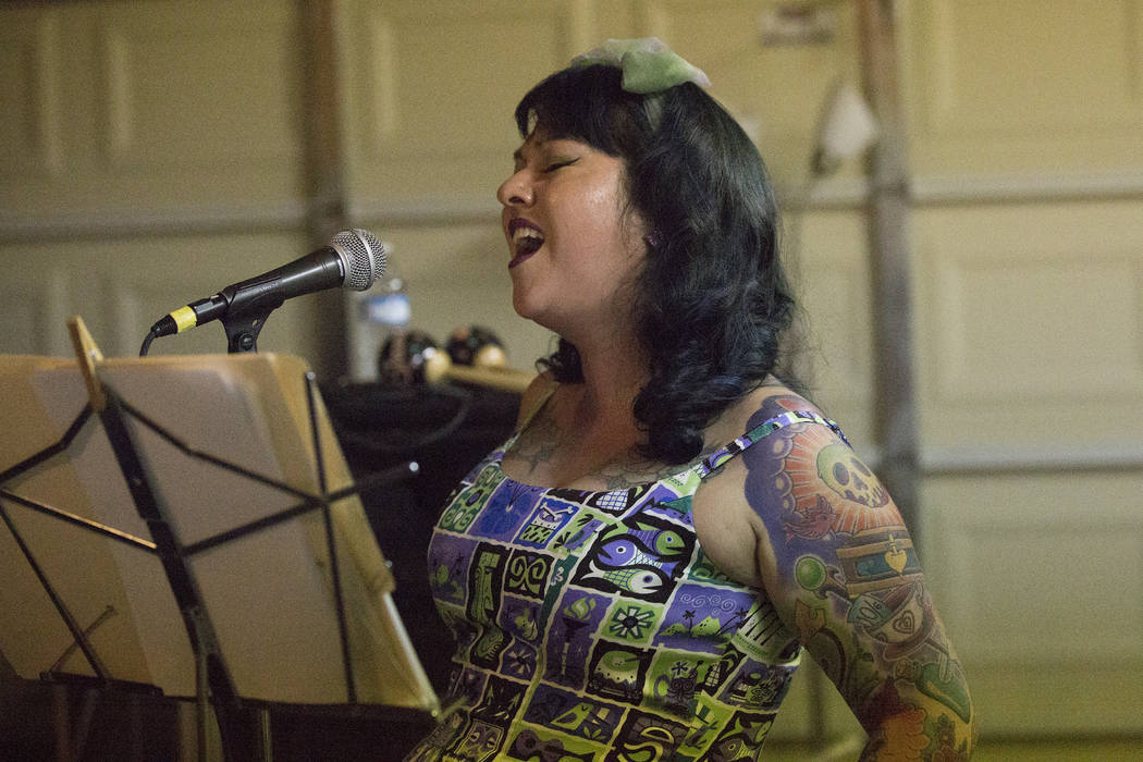 During a rehearsal of local Las Vegas band Shanda and the Howlers, Shanda Cisneros belts out vocals to one of the band's original songs on Thursday, July 13, 2017. (Michael Quine/Las Vegas Revie ...
