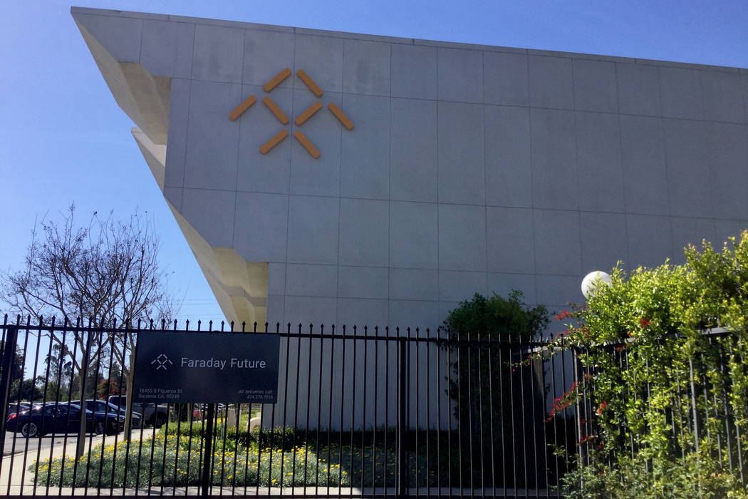 The entrance to Faraday Future's main facility in Gardena, California, March 23, 2017. (Nicole Raz/Las Vegas Review-Journal)