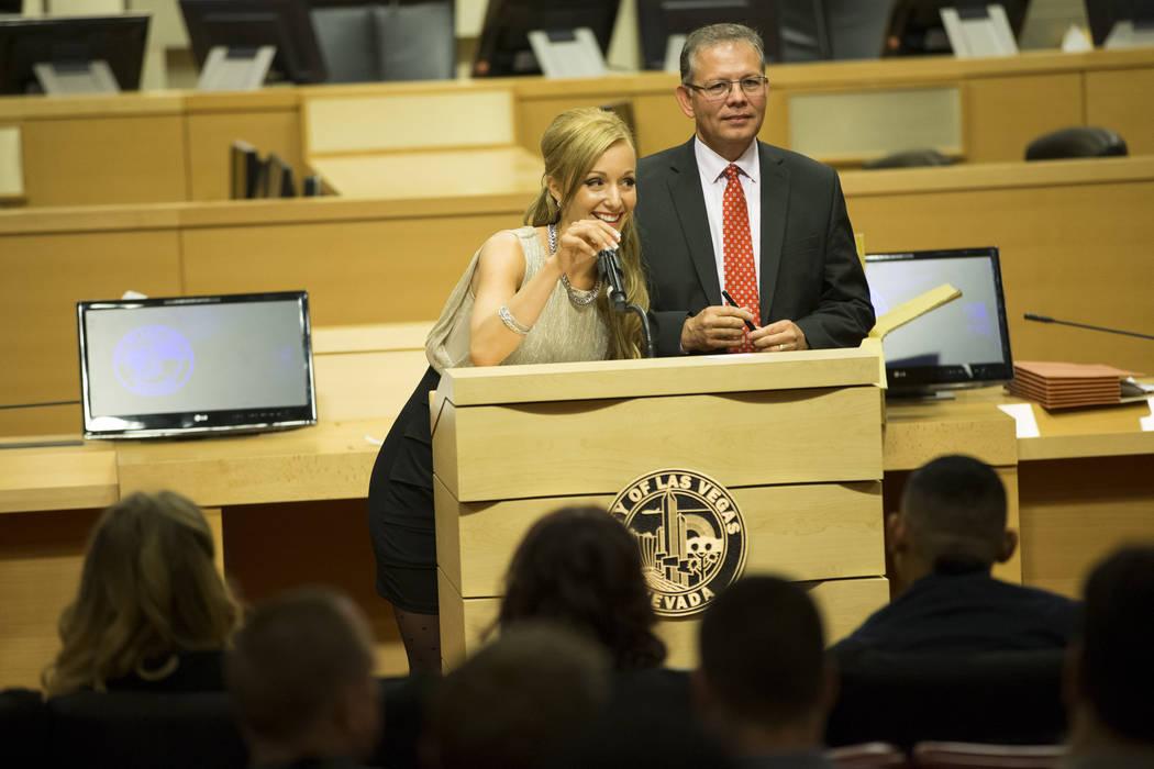 Graduate Stephanie Jaskolski, left, with Judge Cedric Kerns during the Youth Offender Court graduation at Las Vegas City Hall in Las Vegas, on Thursday, July 20, 2017. Erik Verduzco Las Vegas Revi ...