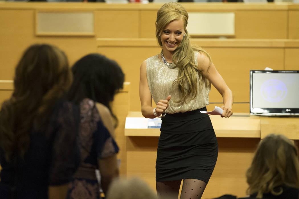 Graduate Stephanie Jaskolski after her speech during the Youth Offender Court graduation at Las Vegas City Hall in Las Vegas, on Thursday, July 20, 2017. Erik Verduzco Las Vegas Review-Journal @Er ...
