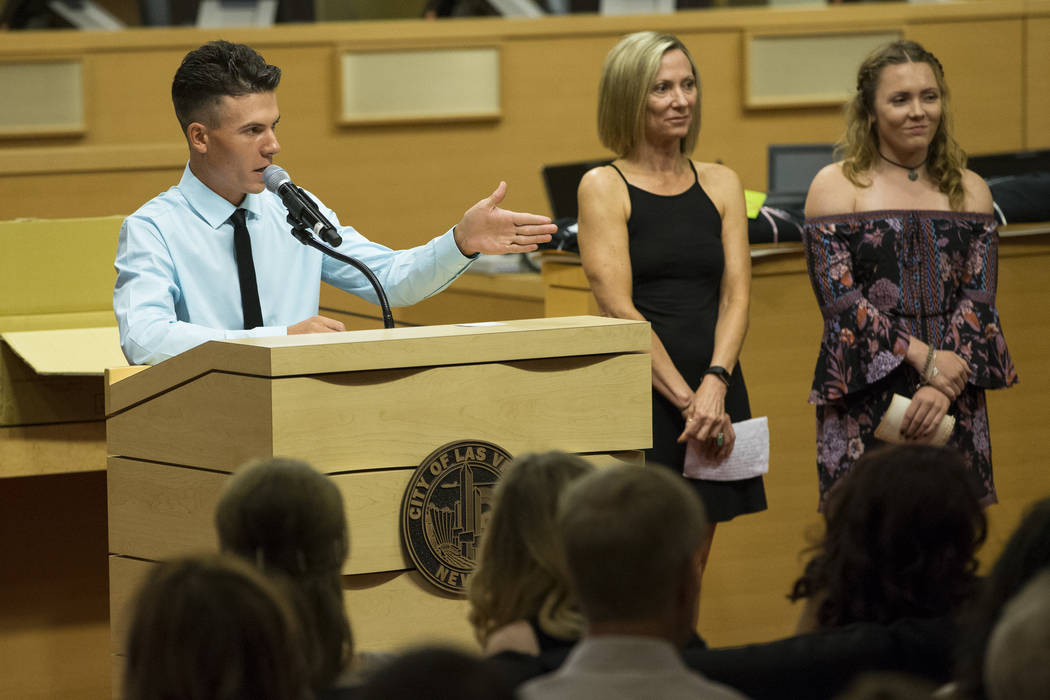 Graduate Corey McArdle, from left, his mother Denise Wheeler and sister Dylan during the Youth Offender Court graduation at Las Vegas City Hall in Las Vegas, on Thursday, July 20, 2017. Erik Verdu ...