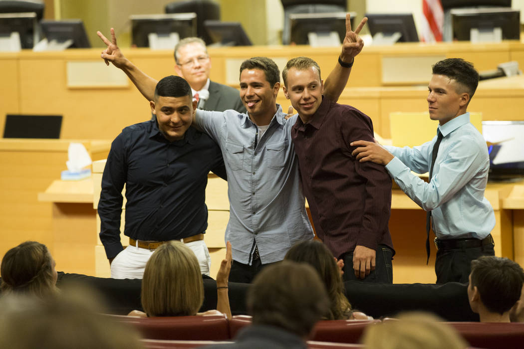 Graduates of the Youth Offender Court from left, Lenin Castillo, Cody Hoover, Shawn Biron, and Corey McArdle, at Las Vegas City Hall in Las Vegas, on Thursday, July 20, 2017. Erik Verduzco Las Veg ...