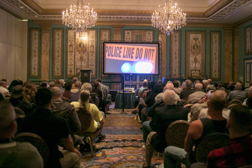 "People watch a screening of җhat Happened in Vegas,"" during the Anthem Libertarian Film Festival at the Paris Las Vegas, Thursday, July 20, 2017. Gabriella Angotti-Jones Las Vegas R ..."