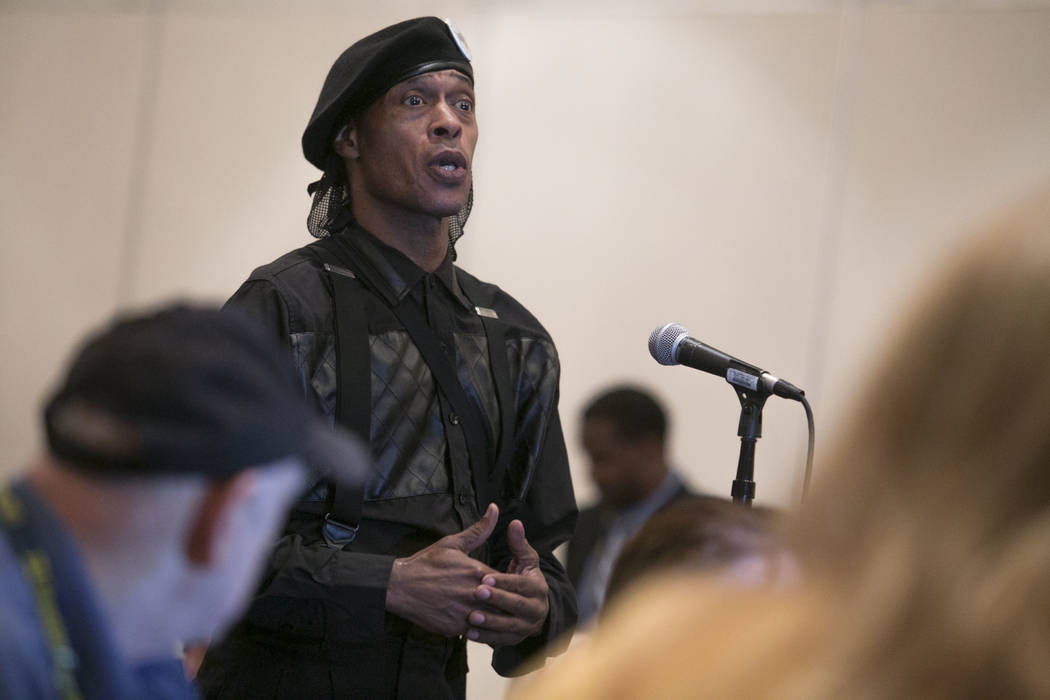 "Jay Jackson, Chairman of The Las Vegas New Black Panthers, asks a question during the panel for the documentary җhat Happened in Vegas,"" at the Paris Las Vegas in Las Vegas, Thursda ..."