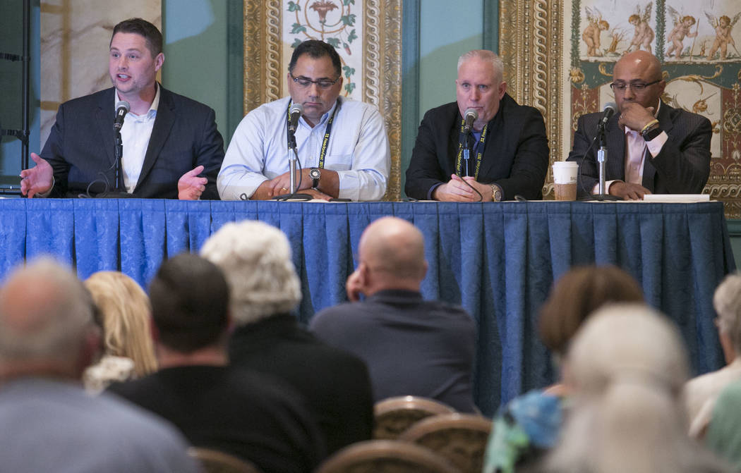 "The panel for the documentary җhat Happened in Vegas,"" Ramsey Denison, director of the film, from left, David H. Safavian, deputy director of Center for Criminal Justice Reform, Ran ..."