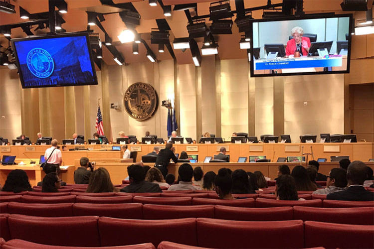The City of Las Vegas unanimously approved a United Soccer League team for Las Vegas, Wednesday, July 19, 2017. (Gilbert Manzano/Las Vegas Review-Journal)