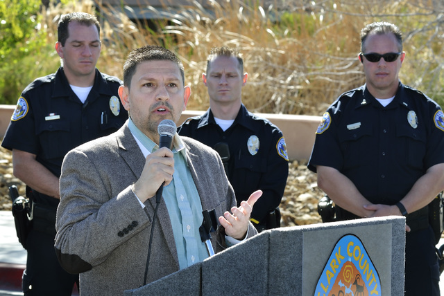 State Sen. Mark Manendo speaks during an announcement of an interagency crackdown on crime at the Clark County Wetlands Park at 7050 Wetlands Park Lane in Las Vegas on Thursday, March 17, 2016. Bi ...