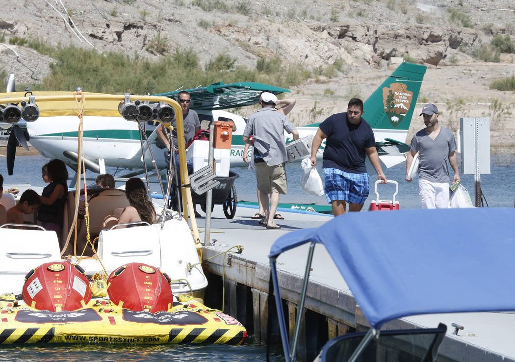 Vacationers arrive at Callville Bay Marina on Lake Mead Recreational Area, on Friday, May 26, 2017. Bizuayehu Tesfaye Las Vegas Review-Journal @bizutesfaye