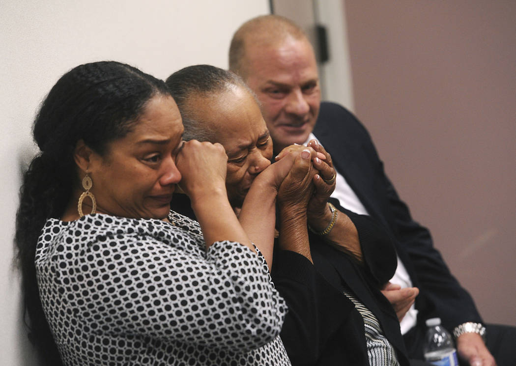 O.J. Simpson's daughter Arielle Simpson, left, sister Shirley Baker and friend Tom Scotto react after O.J. Simpson was granted parole at Lovelock Correctional Center in Lovelock on Thursday, July  ...