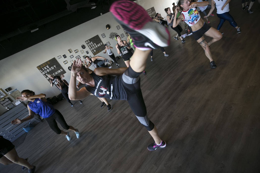 Angela Thornhill of Lake Havasu takes part in the Core De Force instructor training workshop at Body Dance and Fitness studio located at 7885 West Sahara Ave., Sunday, July 23, 2017, in Las Vegas. ...