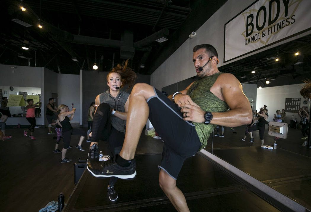 Beachbody LIVE trainers and Core De Force co-creators Jericho McMatthews, left, and Joel Freeman lead their MMA-inspired instructor training workshop at Body Dance and Fitness studio located at 78 ...