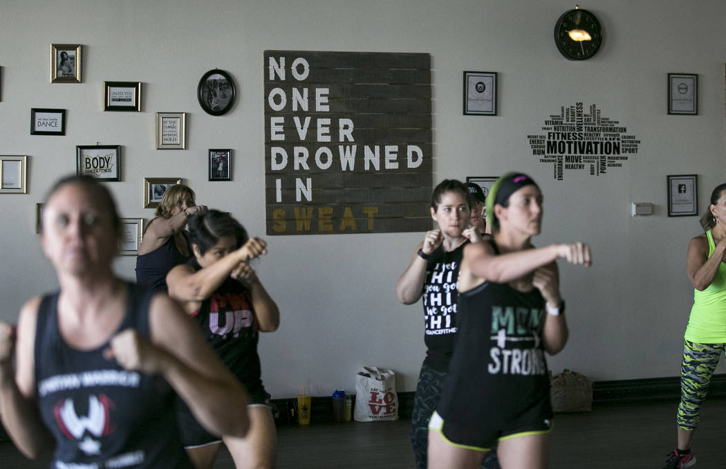 Participants take part in the Core De Force instructor training workshop at Body Dance and Fitness studio located at 7885 West Sahara Ave., Sunday, July 23, 2017, in Las Vegas. Richard Brian Las V ...
