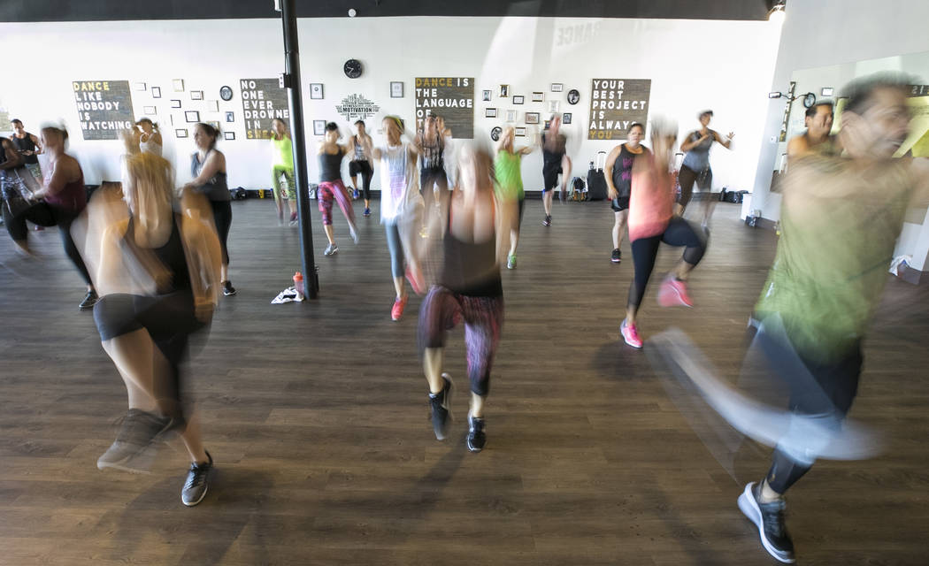 Participants take part in the Core De Force instructor training workshop at Body Dance and Fitness studio at 7885 West Sahara Ave., Sunday, July 23, 2017, in Las Vegas. (Richard Brian/Las Vegas Re ...