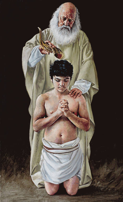 """The second station tapestry by John Nava: """"The Holy Spirit anoints David as King."""""""