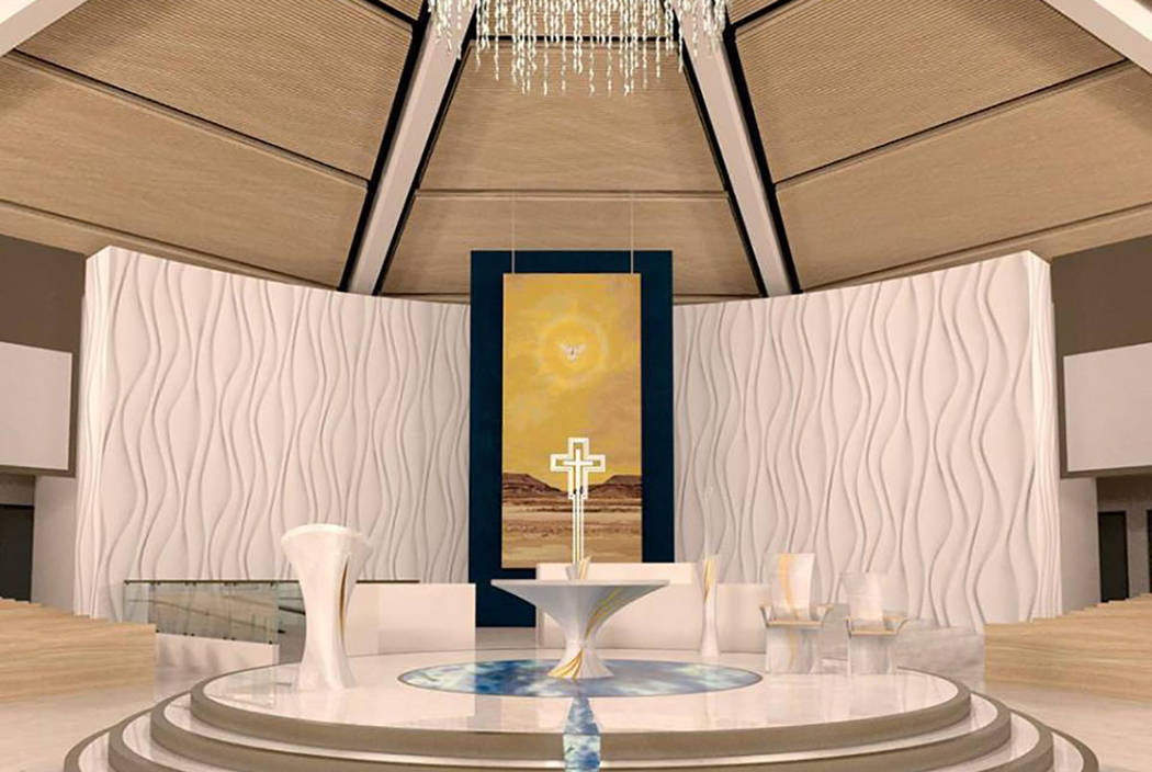 Rendering of the interior of the Holy Spirit Catholic Church by architect Jim Van Compernolle of JVC Architects.