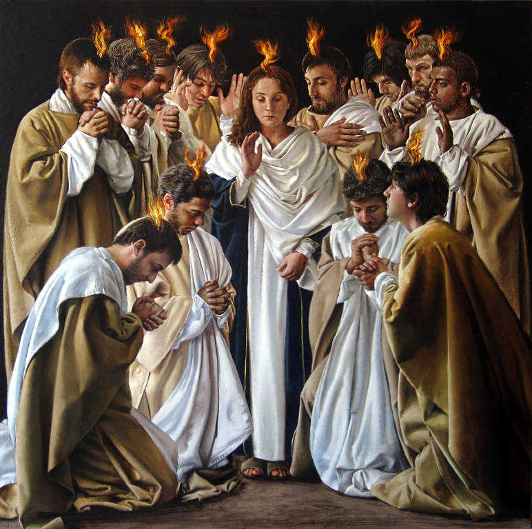 """The sixth station tapestry by John Nava: """"The Holy Spirit comes to the Apostles, disciples and Mary at Pentecost."""""""