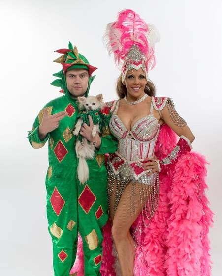 Jade Simone performs with Piff the Magic Dragon at the Flamingo. (Courtesy)