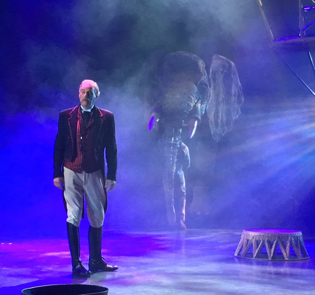 "David Williamson, who plays ringmaster Willy Whipsnade in ""Circus 1903,"" is shown in a sneak preview for the show at AG Light and Sound in North Las Vegas on Tuesday, July 18, 2017. (John Katsilom ..."