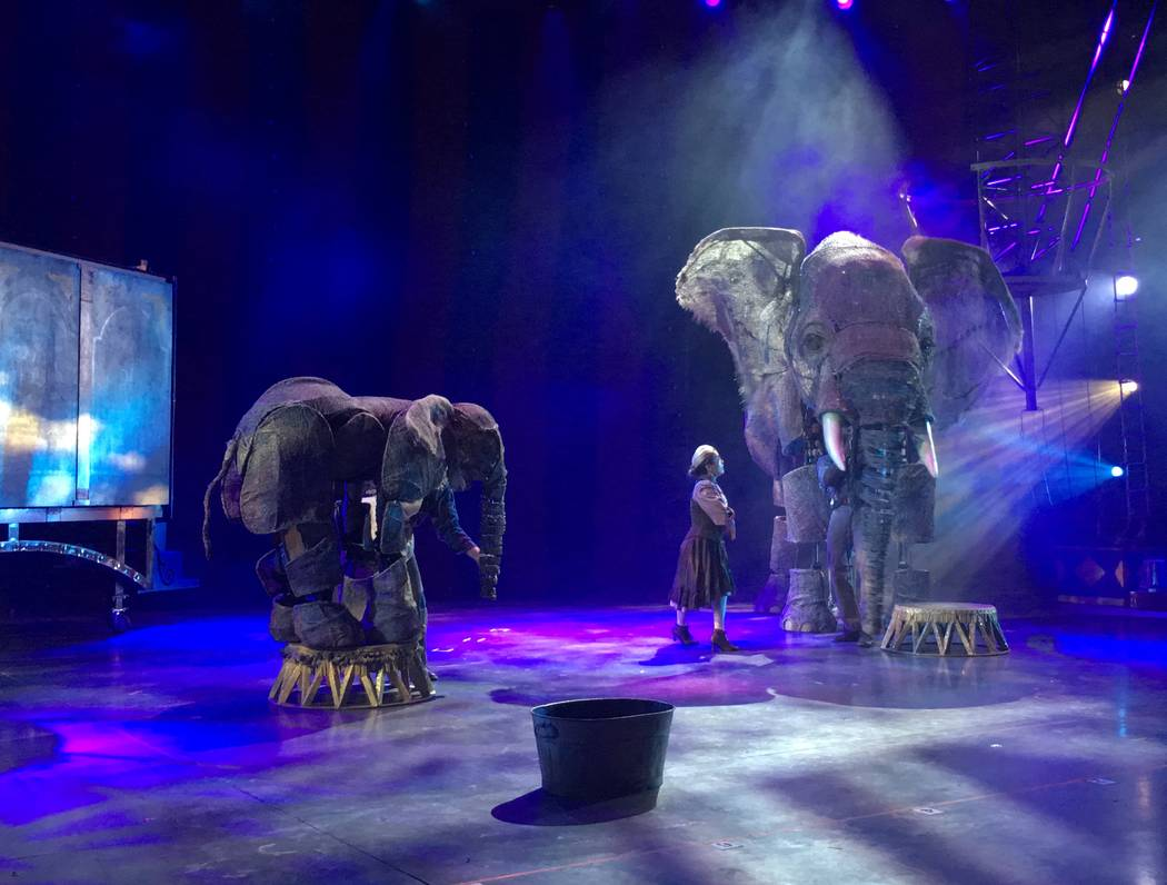"The elephant puppets Queenie and Peanut co-stars in ""Circus 1903,"" are shown in a sneak preview for the show at AG Light and Sound in North Las Vegas on Tuesday, July 18, 2017. (John Katsilometes/ ..."